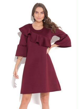 9f70d1441 produto Vestido Quintess Bordô com Babado Assimétrico