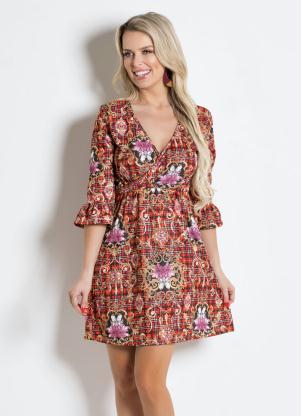 6ac7739964 Moda Pop - Vestido Xadrez Flor Mangas 7 8 Abertura Sino
