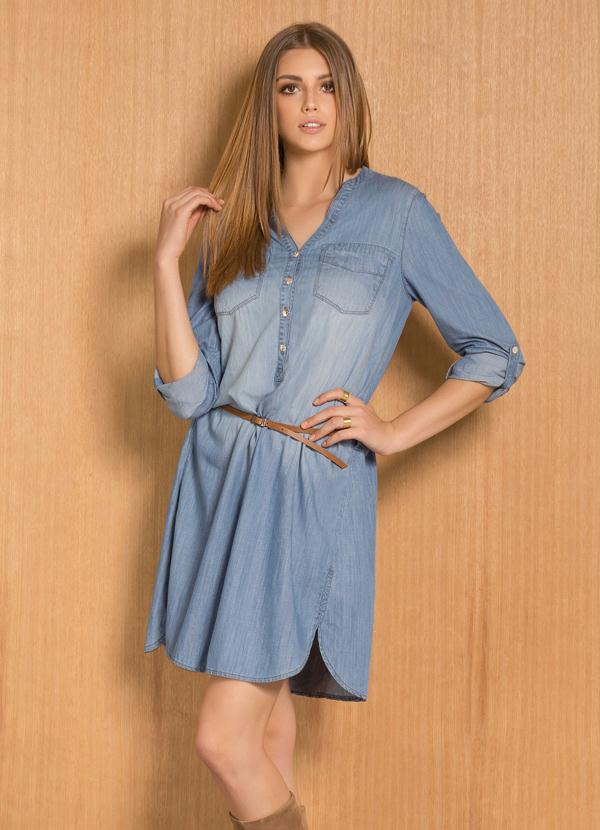Vestido chemise jeans azul claro