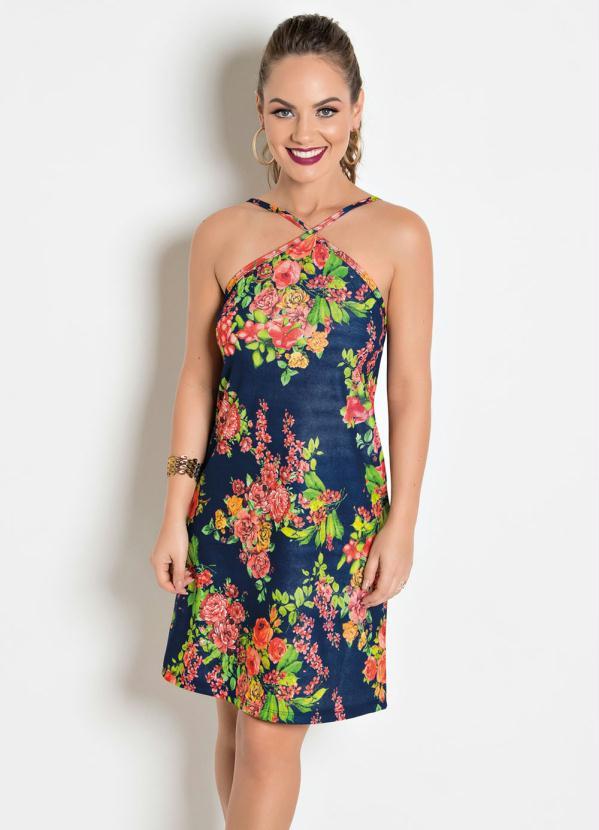 c41b977223 Queima estoque - Vestido com Decote Trapézio Floral - Queima de Estoque