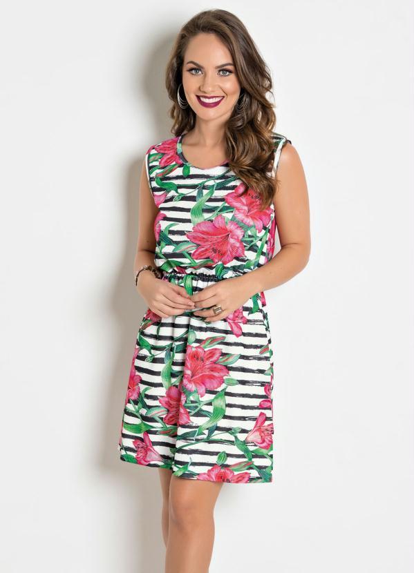 c1aa95fc4 Moda pop - Vestido com Elástico na Cintura Flor e Listras - Moda Pop