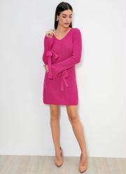 Vestido de Tricô com Amarração Rosa Pink