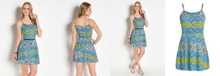 392acaa58b 0.5577319264411926 Vestido Evasê de Alças Étnico Azul