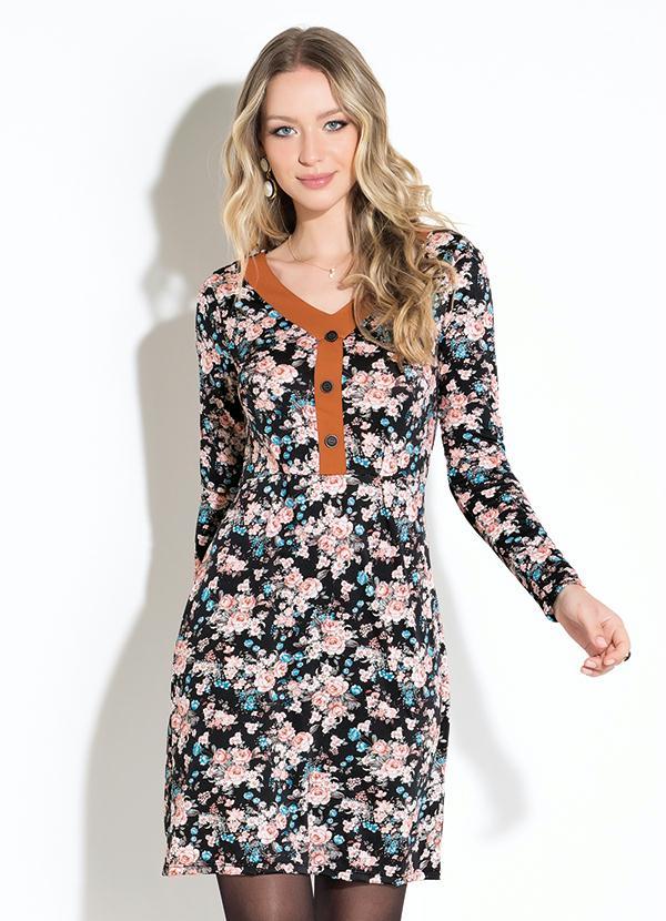 f5e587c3f Quintess - Vestido Floral Preto com Botões - Quintess