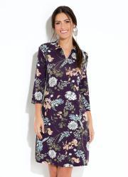 a70a4da74b Vestido Floral Preto com Gola e Zíper no Decote