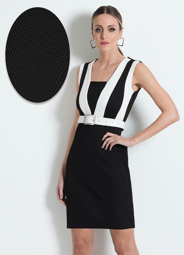 7b4240035 Multimarcas - Vestido Malha Jacquard Preto e Branco - Multimarcas