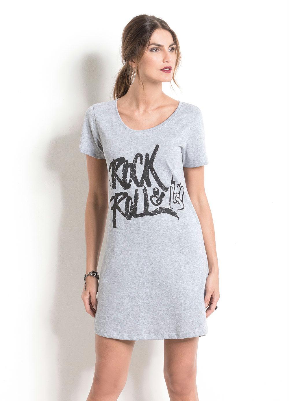 e9a42a7c1 Vestido Mescla Quintess com Estampa Rock In Roll - Quintess