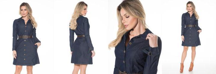 8aee99498 0.0 Vestido Nervuras Invertidas Jeans Via Tolentino
