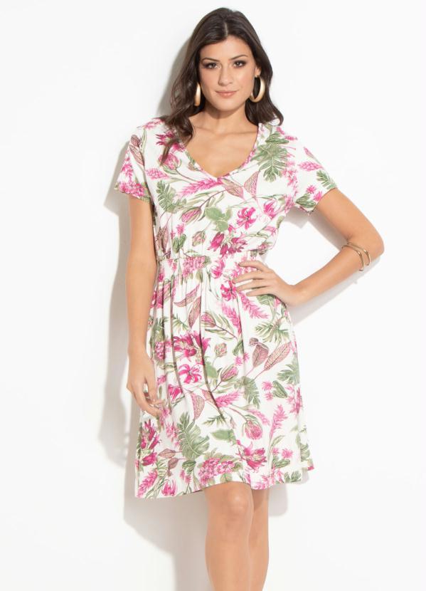 977ee2952ff3 Quintess - Vestido Quintess Floral com Elástico na Cintura - Quintess