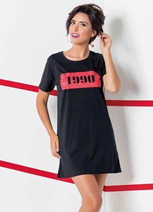 7dbe30917 Queima estoque - Vestido T-Shirt Preto com Estampa 1990 - Queima de ...