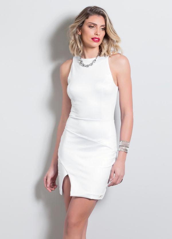 ffe2e51990da Quintess - Vestido Tubinho com Fenda Quintess Branco - Quintess