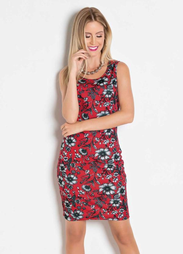 99276b4b3 Queima estoque - Vestido Tubinho Floral Vermelho - Queima de Estoque