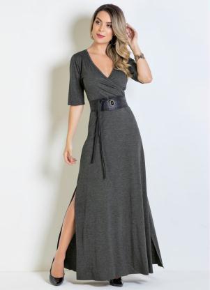 6819af6587 Moda Pop - Vestido Longo Chumbo com Decote Transpassado