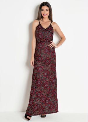 90383d31b produto Queima Estoque - Vestido Longo Floral com Decote Transpassado