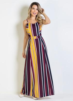 3296c2071 produto Vestido Longo Listrado com Alças
