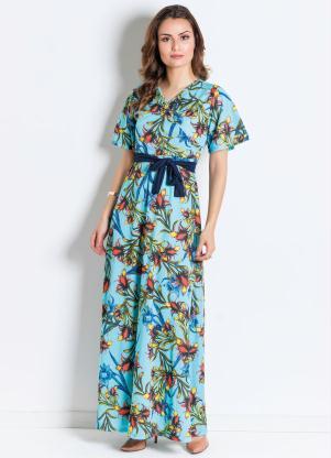 ef671bb660 produto Rosalie - Vestido Transpassado Floral Azul Moda Evangélica
