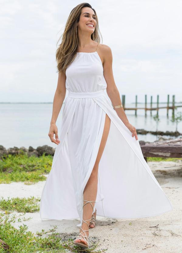 f21f5389f1 Bonprix - Vestido com Fendas Branco - bonprix