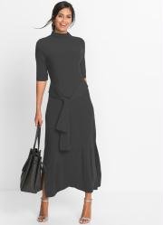 Vestido de Malha Longo Cinza
