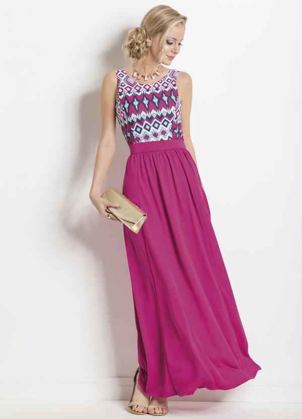 ec5e5d9f7 Janine - Vestido Longo com Decote Costas Rosa e Estampado - Multimarcas