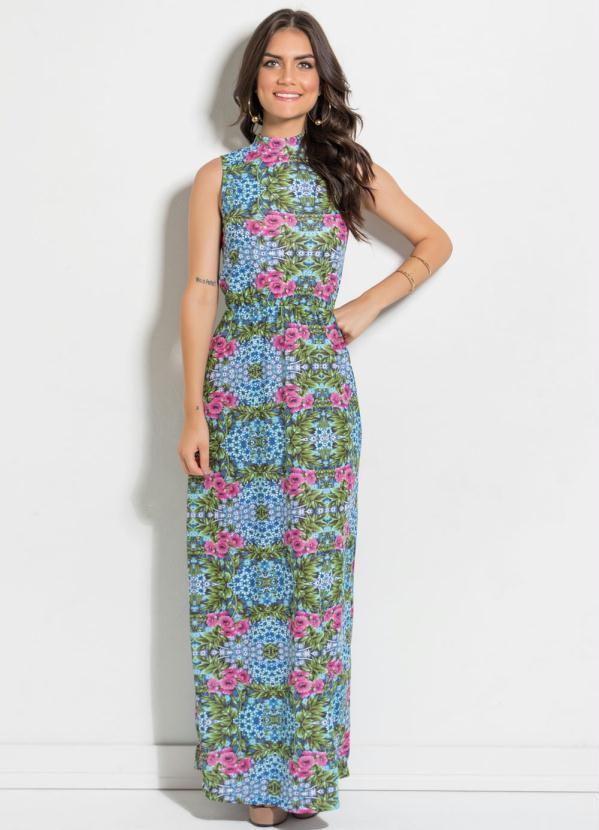 ae7384839 Queima estoque - Vestido Longo com Gola Alta Floral - Queima de Estoque