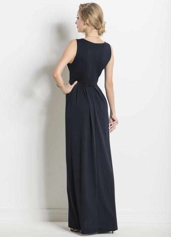 a55fc46aa Janine - Vestido Longo com Tiras no Decote Preto - Multimarcas