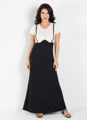 Vestido Longo Bicolor Preto e Branco