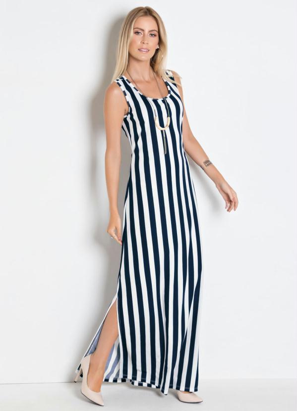 Moda Pop Vestido Longo Listrado Com Fendas Laterais
