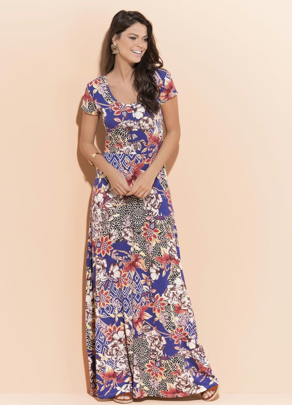 f336c60a1 Vestido Longo Quintess Floral com Manga Curta - Quintess