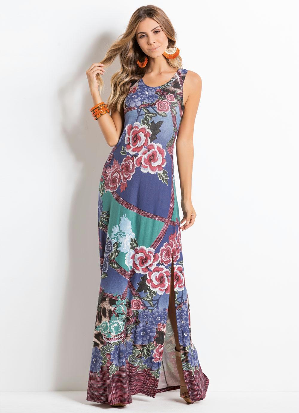 2d6f8f49c Vestido Longo Quintess Floral Marinho com Fendas - Quintess