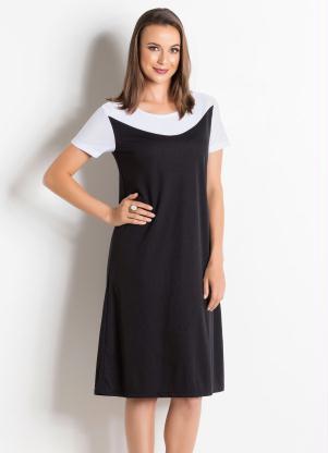 138dd7eabe produto Queima de Estoque - Vestido Preto e Branco Moda Evangélica