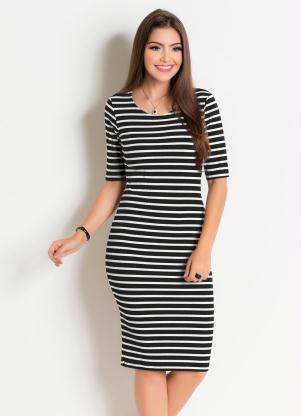 ad4bc8c37 produto Rosalie - Vestido em Ribana Listrado Moda Evangélica