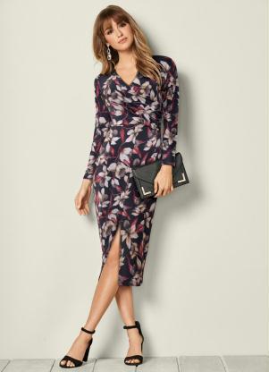 94f2bc991b bonprix - Vestido com Fenda Estampado Preto Floral