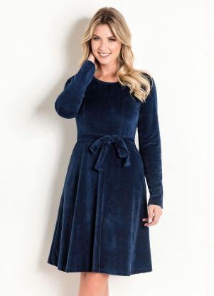 52e2dfb0c9 Rosalie - Vestido em Plush Marinho Moda Evangélica. R$ 99 ...