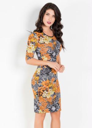 c5dda35ec produto Rosalie - Vestido Floral Moda Evangélica com Mangas 3 4