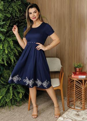 984c65bc15 produto Rosalie - Vestido Marinho com Pérolas Moda Evangélica