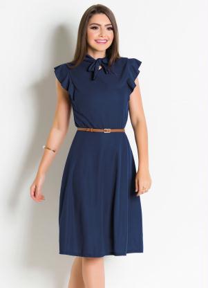 8c5259d2d produto Vestido Moda Evangélica Marinho com Gola Laço