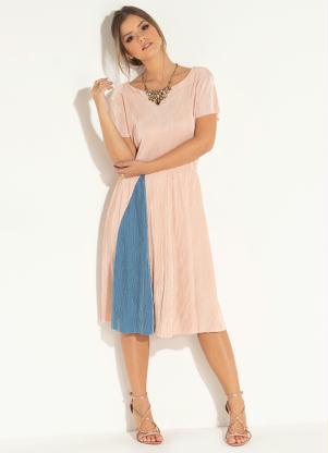 d05bd5205 produto Vestido Midi Rosa e Azul com Recorte