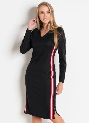 871f4e91a produto Rosalie - Vestido Preto com Faixa Lateral Moda Evangélica