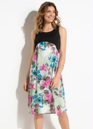 b9bd552fdc produto Quintess - Vestido Quintess Floral e Preto com Vazado