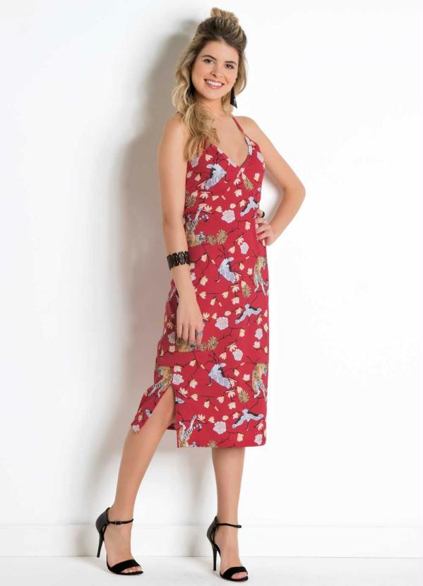 908af46e6 Moda pop - Vestido de Alças Midi Estampado - Moda Pop