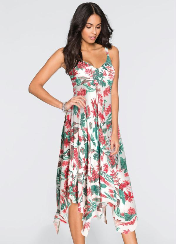 00d6c2555901 Bonprix - Vestido com Barra Assimétrica Floral Branco - bonprix