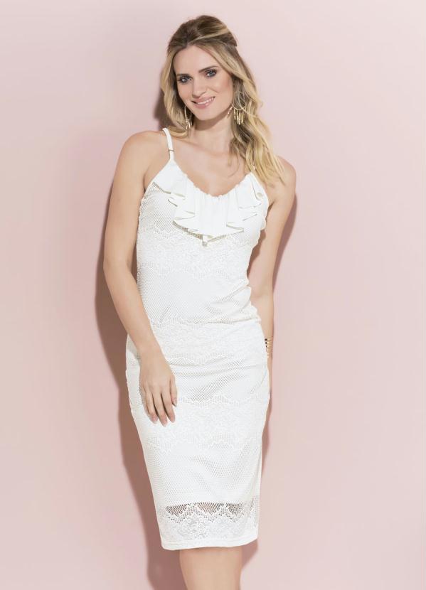 08fe24bc9986 Quintess - Vestido Midi Quintess Off White em Renda - Quintess