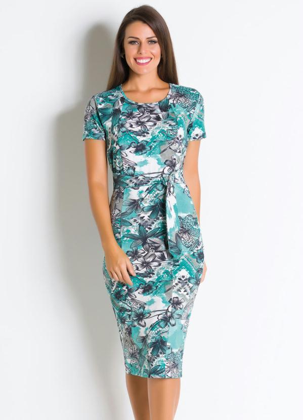 39929a61a Rosalie - Vestido Moda Evangélica Floral com Amarração - Rosalie