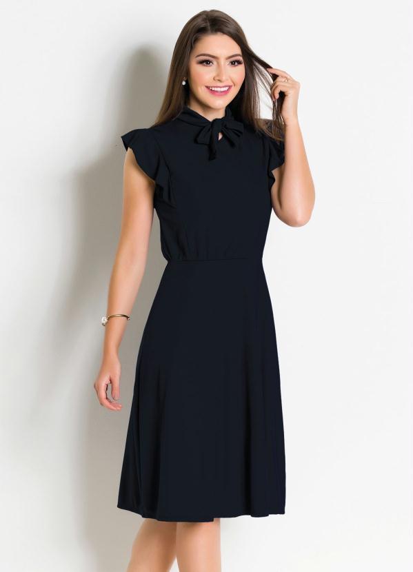 ee9f73a7c4c8 Rosalie - Vestido Preto Moda Evangélica com Gola Laço - Rosalie