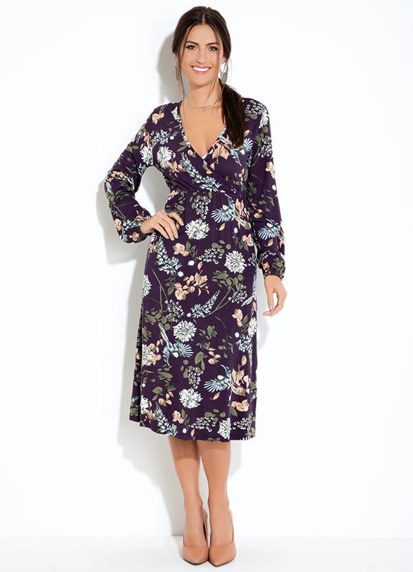 4e437faff Vestido Quintess Midi Floral Preto - Quintess