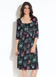 Vestido Quintess Midi Xadrez com Floral