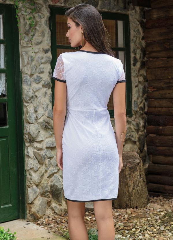 1e66f72d4 Queima estoque - Vestido Tubinho Branco e Preto em Renda - Queima de ...