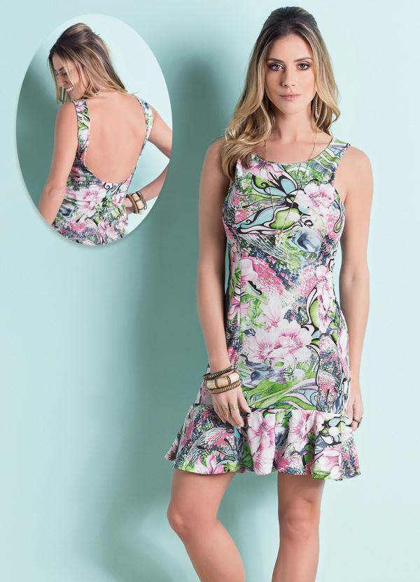 2dbcb6fc97b2 Queima estoque - Vestido Babado Barra Decote Aprofundado Floral ...