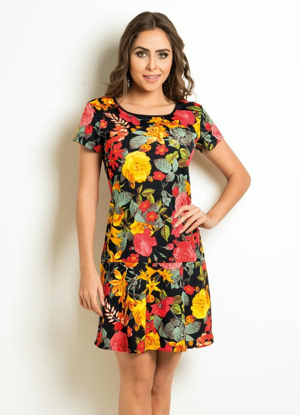 d96fc53d4 Queima estoque - Vestido Floral com Babado na Barra e Manga Curta ...