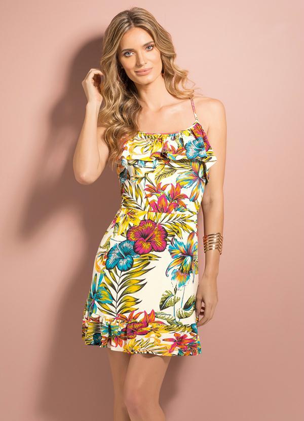 2f514c3fd Quintess - Vestido Floral Tropical com Babados - Quintess